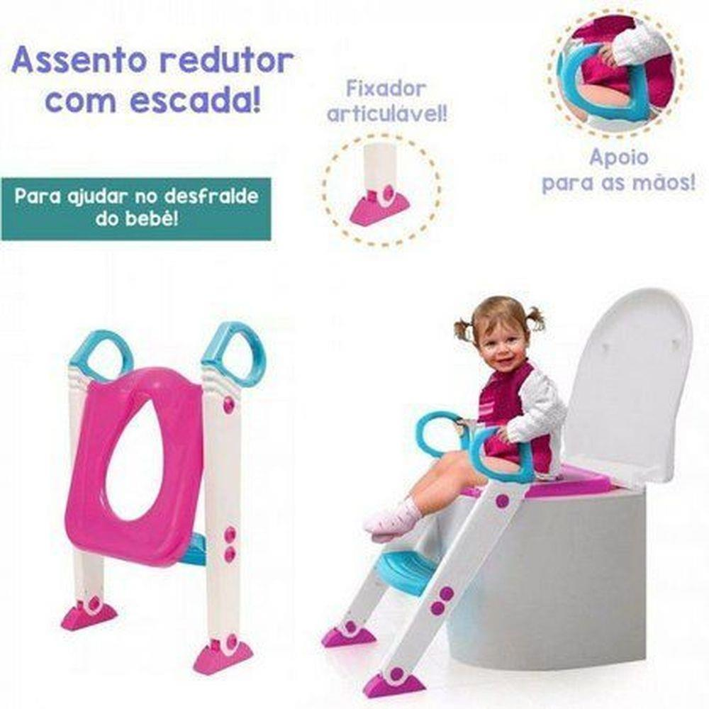 Assento Redutor Com Escada Rosa - Buba  7425