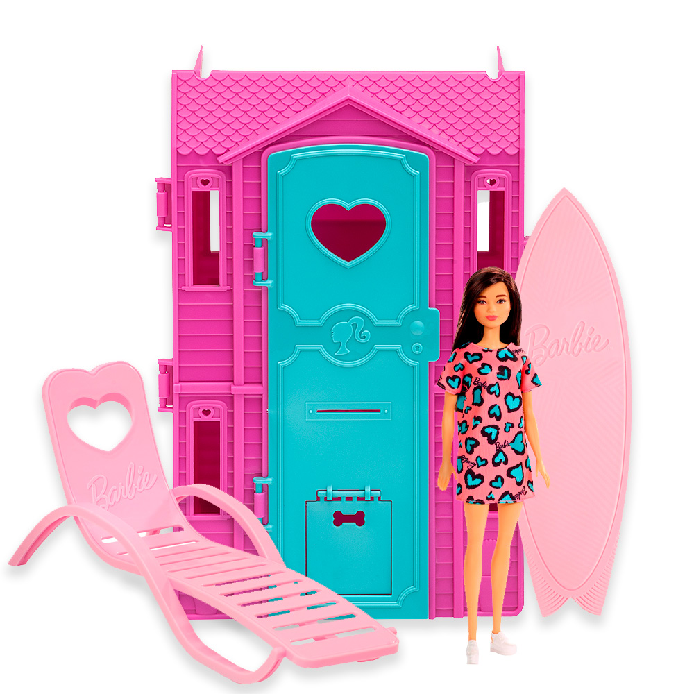 Barbie Studio de Surf Vestido Rosa e Azul - Fun 85825