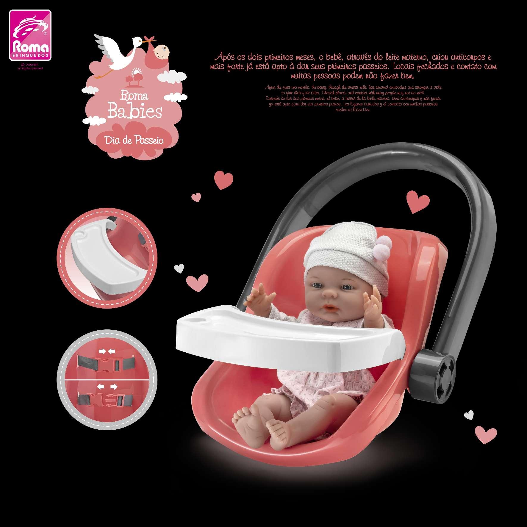 Bebê Conforto C/ Boneca Roma Babies Dia de Passeio - Roma 5044