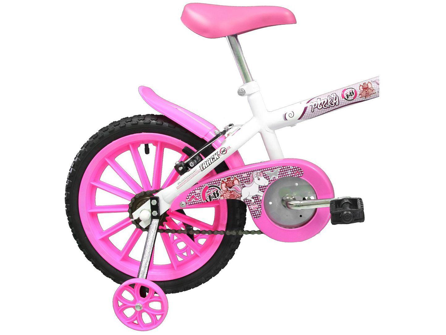 Bicicleta Free Action Aro 16 Kiss Com Cesta Branco e Rosa 040470032 - Status Bike