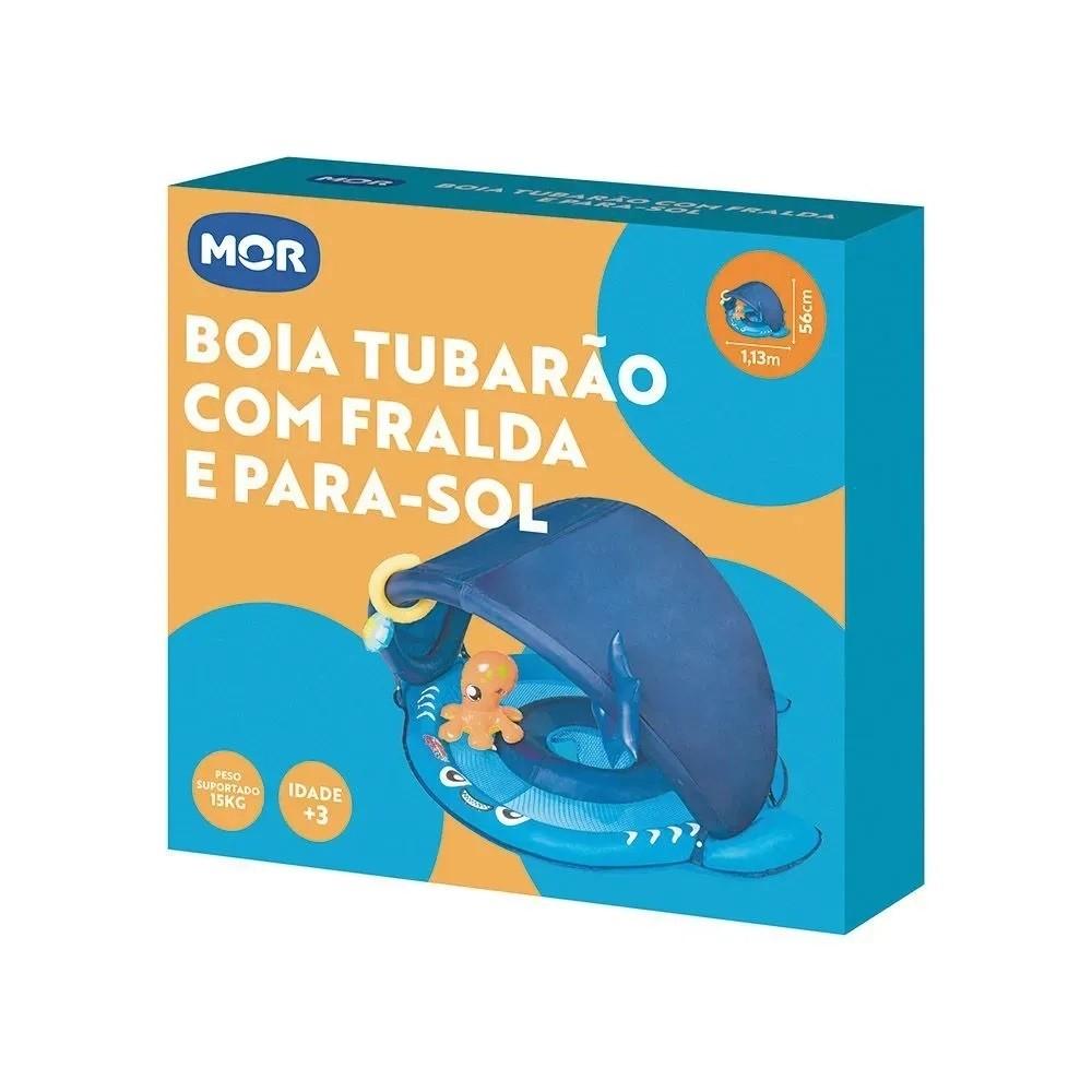 Boia Tubarão com Fralda e Para-Sol Azul - Mor 1958