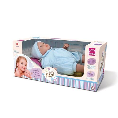 Boneca Bebe Real Reborn Roupa Azul - Roma 5083