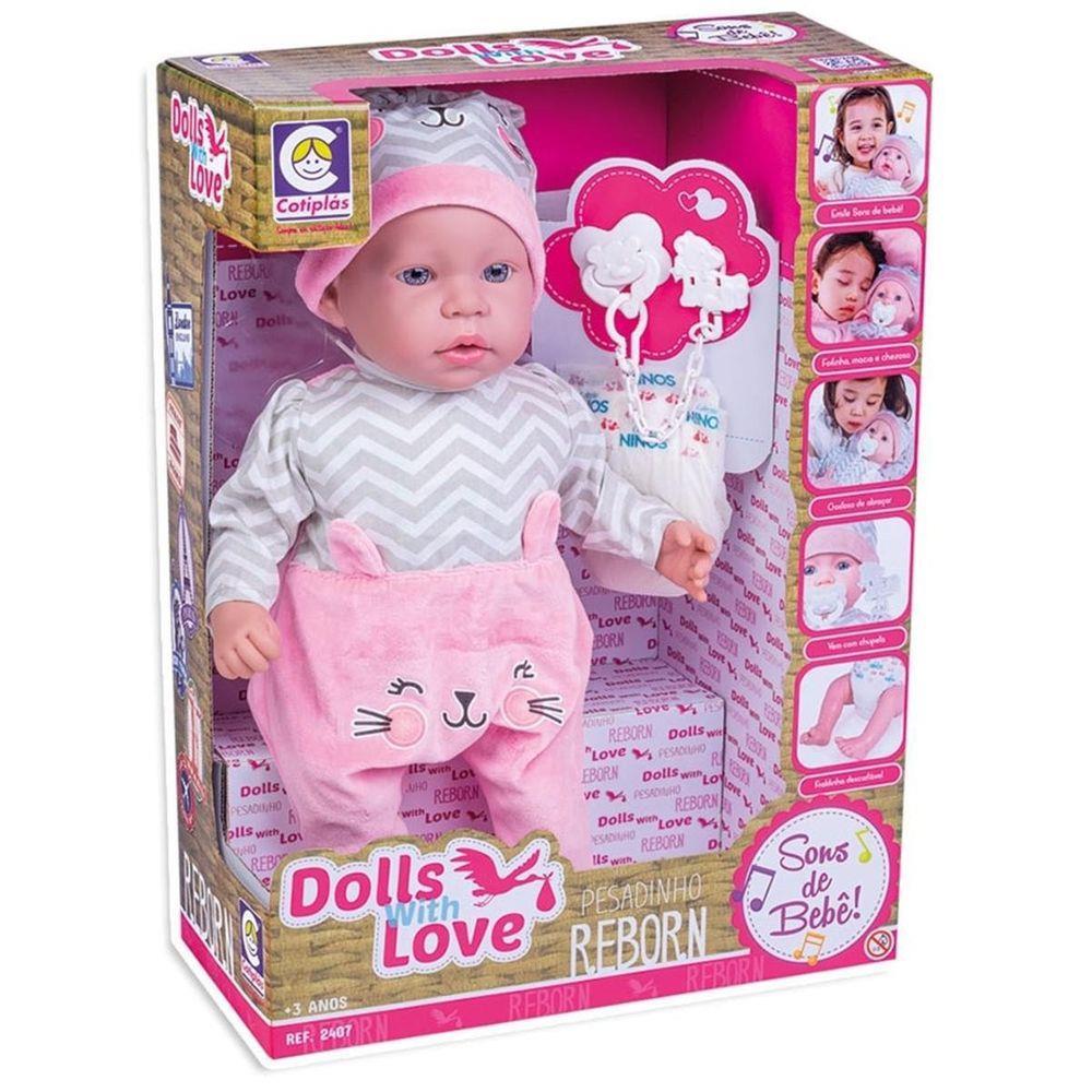Boneca Bebê Reborn Dolls With Love - Cotiplás 2407