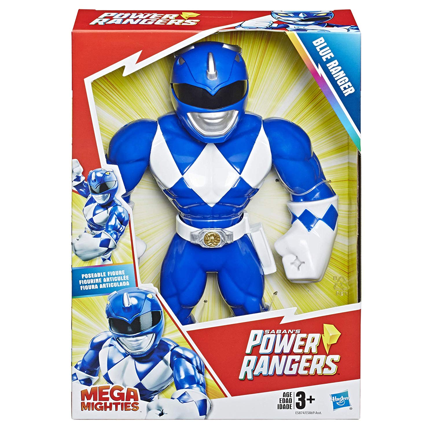 Boneco Articulada 25 Cm Power Rangers Mega Mighties  Blue Ranger E5874/E5869 - Hasbro