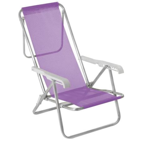 Cadeira Reclinável 8 Posições Alumínio Lilás - Mor 2293