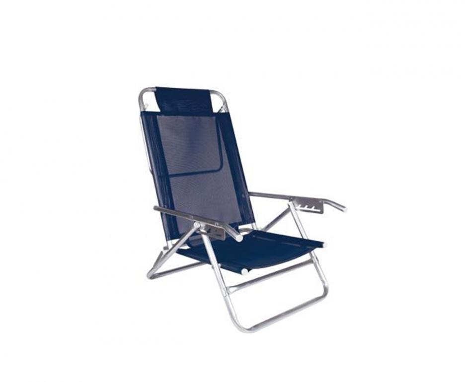 Cadeira Reclinável Alumínio 5 Posições Azul - Mor 2137