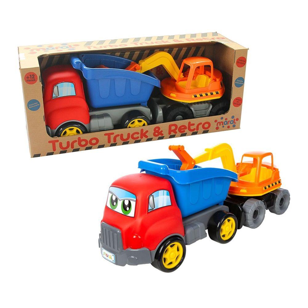Caminhão Escavadeira Turbo Truck Amarelo/azul 4163 Maral