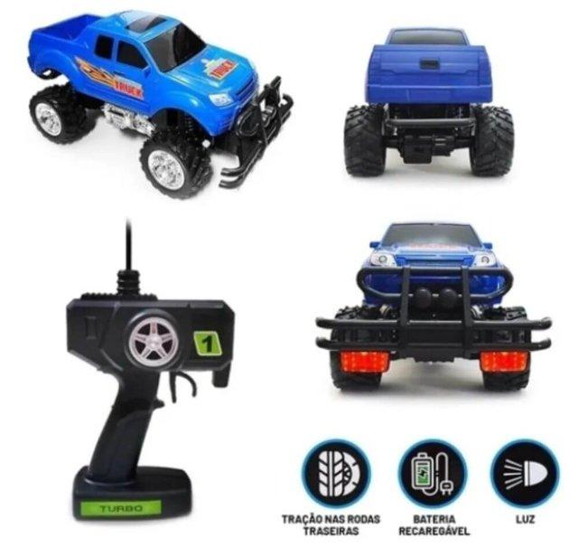 Carrinho de Controle Remoto Pickup Monster Truck Azul - Polibrinq 2271