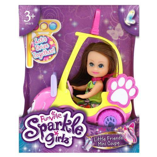 Carro Mini Sparkles Amarelo E Boneca Morena 4806 - DTC