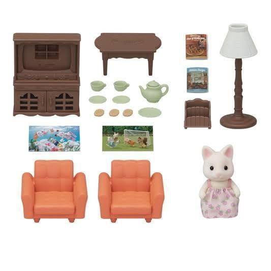 Conjunto Sala de Estar com Irmã Gato Primavera Sylvanian Families - Epoch 5379