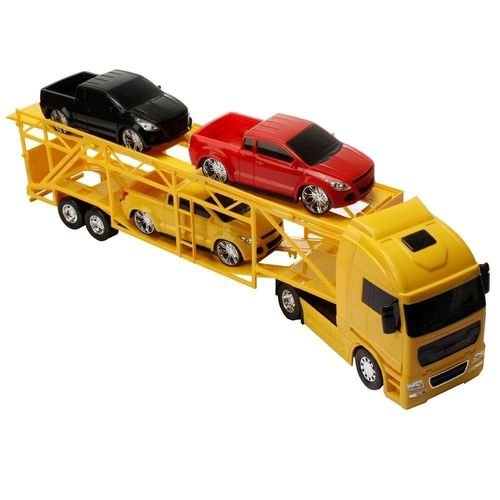 Diamond Truck Cegonheira Com 4 Pickup  Amarelo 1321 - Roma