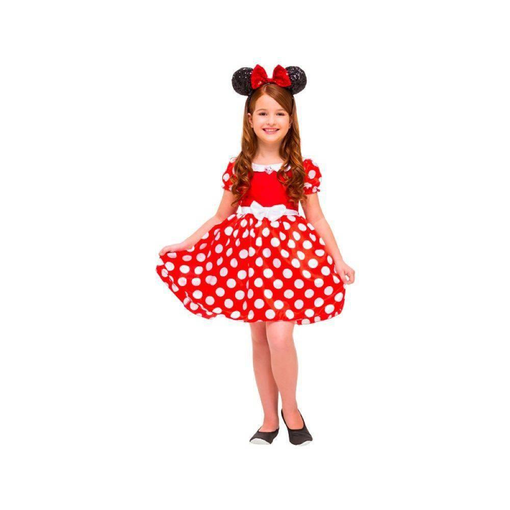 Fantasia Infantil Minnie Vermelha Clássica Tamanho Médio 293 Regina