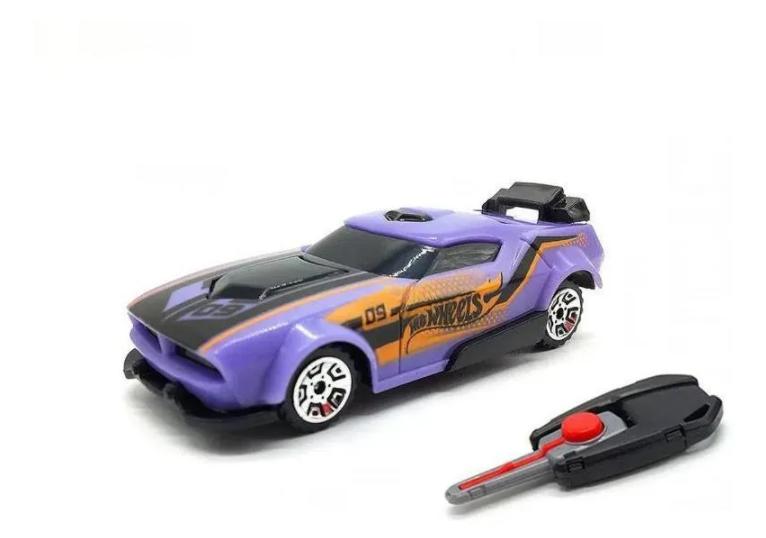 Hot Wheels Carro Com Chaveiro Lançador  Roxo - Fun F00034