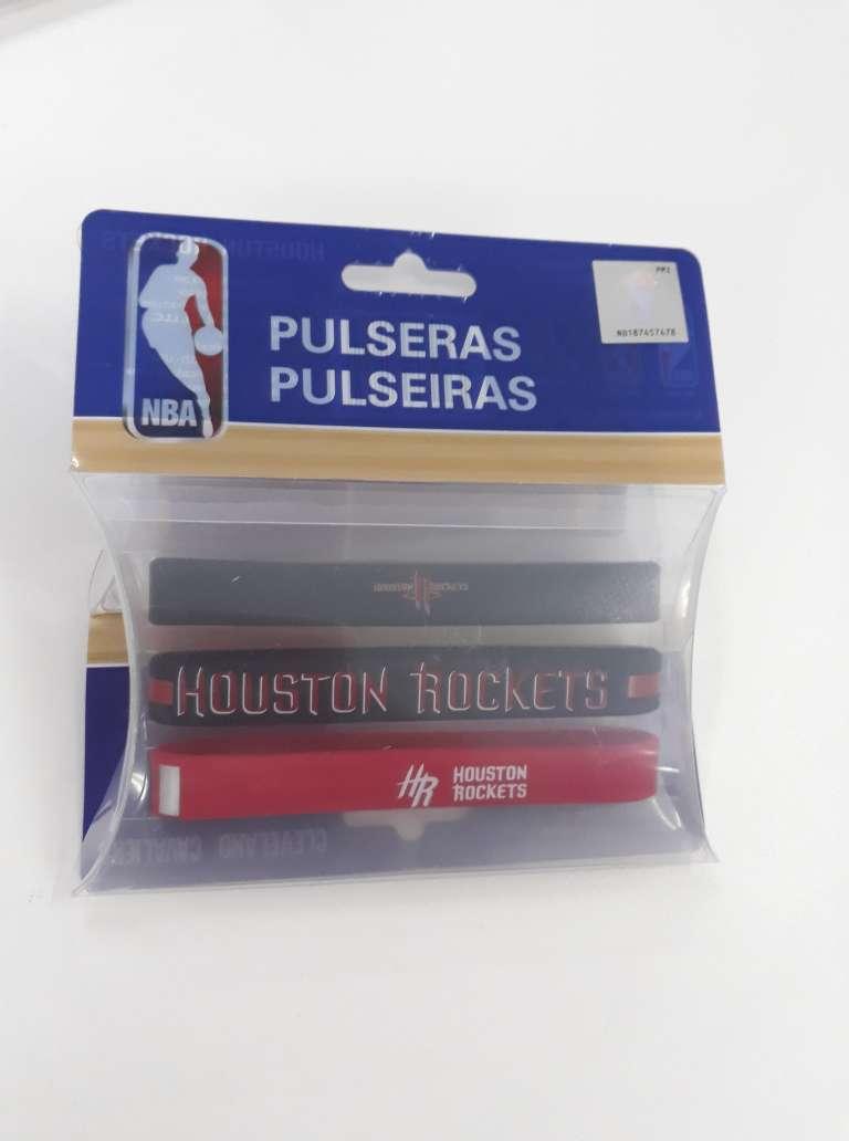 Kit C/3 Pulseiras de Silicone NBA Houston Rockets - Maccabi 7189