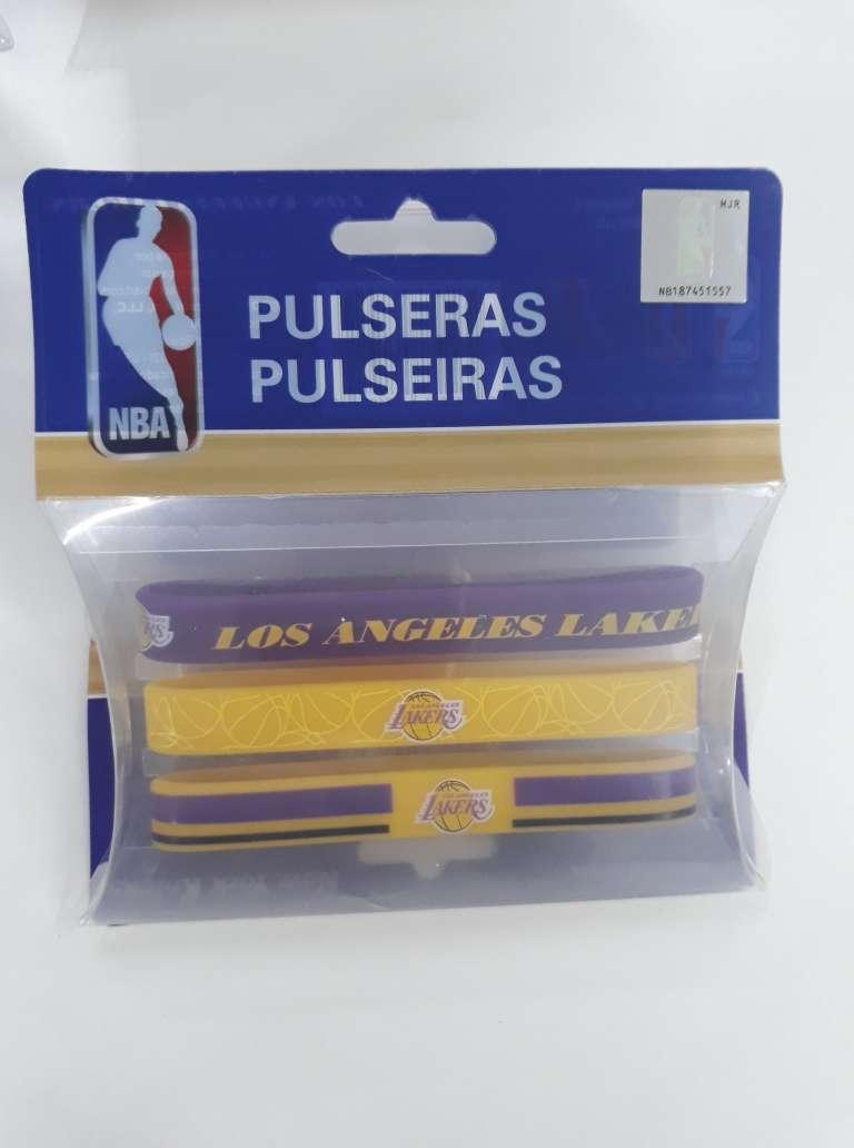 Kit C/3 Pulseiras de Silicone NBA Los Angeles Lakers - Maccabi 7192