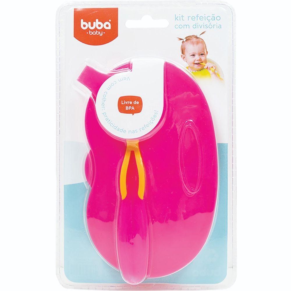 Kit Refeição com Divisória e Colher Infantil Rosa - Buba 5805