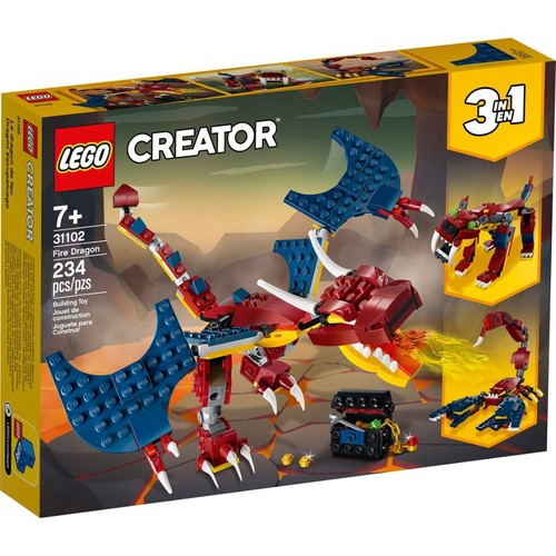 Lego Creator 3 em 1 Criatura Dragao do Fogo 234 Peças - 31102