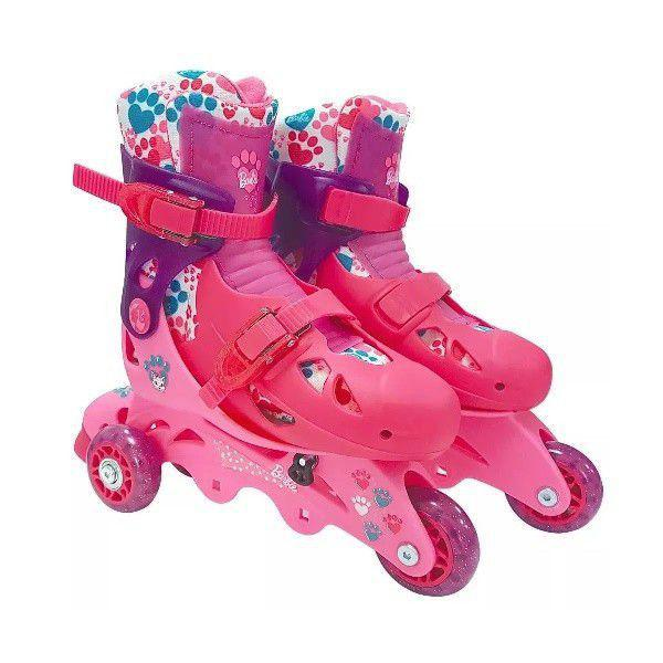 Patins 3 rodas Barbie ajustável 29 a 32 - Fun F00107