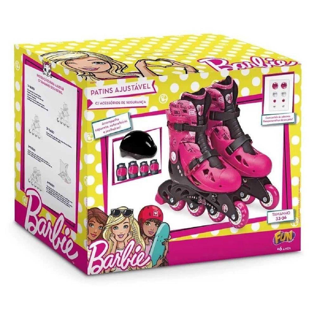 Patins ajustável 33 a 36 Barbie - Fun F00108