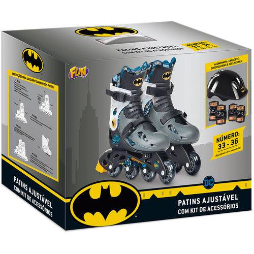Patins Batman Ajustavel 33 A 36 Com Kit De Seguranca - Fun 84179