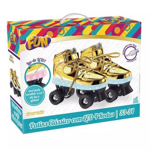 Patins Com Led 4 Rodas Dourado 35/36 83105 - Fun
