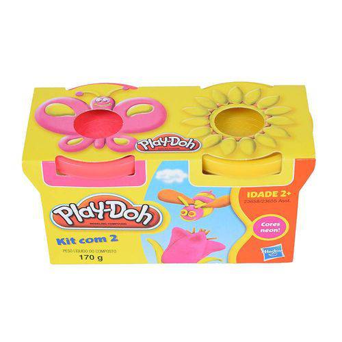 Play Doh Massinha 2 Potes Rosa E Amarelo 23658/23655 - Hasbro