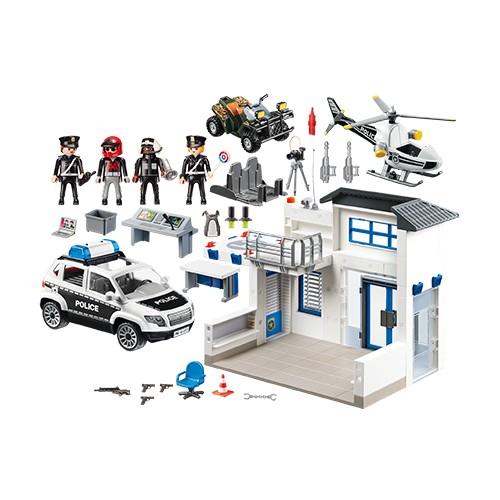 Posto Policial com Carro de Polícia e Helicóptero Playmobil - Sunny 1760