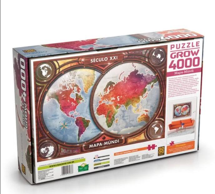 Quebra Cabeça Puzzle 4000 Peças Mapa Mundi Século XXI 03463