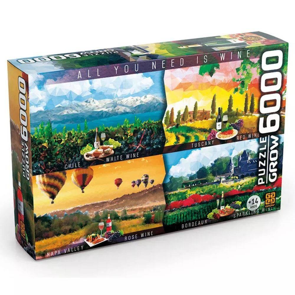 Quebra Cabeça Puzzle 6000 Peças Vinhos Do Mundo - Grow