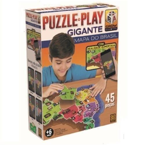 Quebra Cabeça Puzzle Play Gigante Mapa Do Brasil - Grow 3635