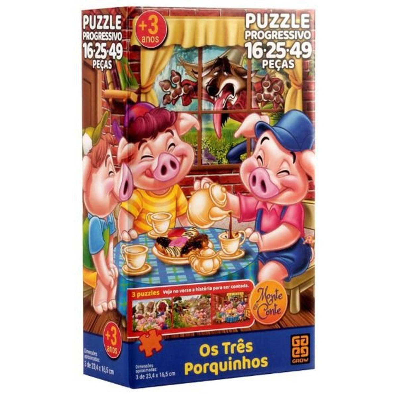 Quebra-cabeça Puzzle Três Porquinhos - Grow 3561
