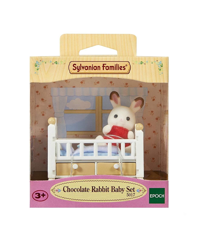 Sylvanian Families Bebê Coelho Chocolate e Cama 5017 - Epoch