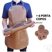 Kit Avental Churrasqueiro + Estojo Porta Facas em Couro e Brinde Porta Copos
