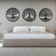 Quadros Decorativos Quarto Casal Em Mdf 6mm 43x43cmm Preto Trio
