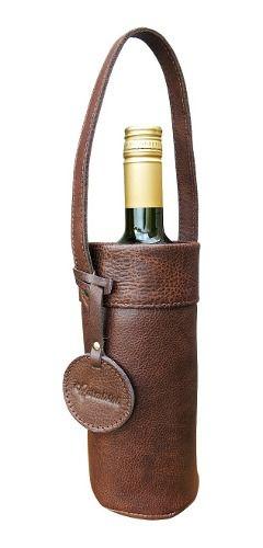 Porta Garrafas Wine Bag Em Couro Kit Com 3 Peças Cor Tabaco