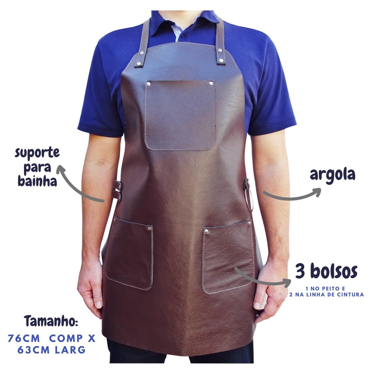 Avental de Churrasqueiro Chefe Cozinha Couro Premium