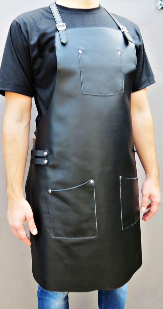 Avental de Couro Modelo Barcelona cor Preta