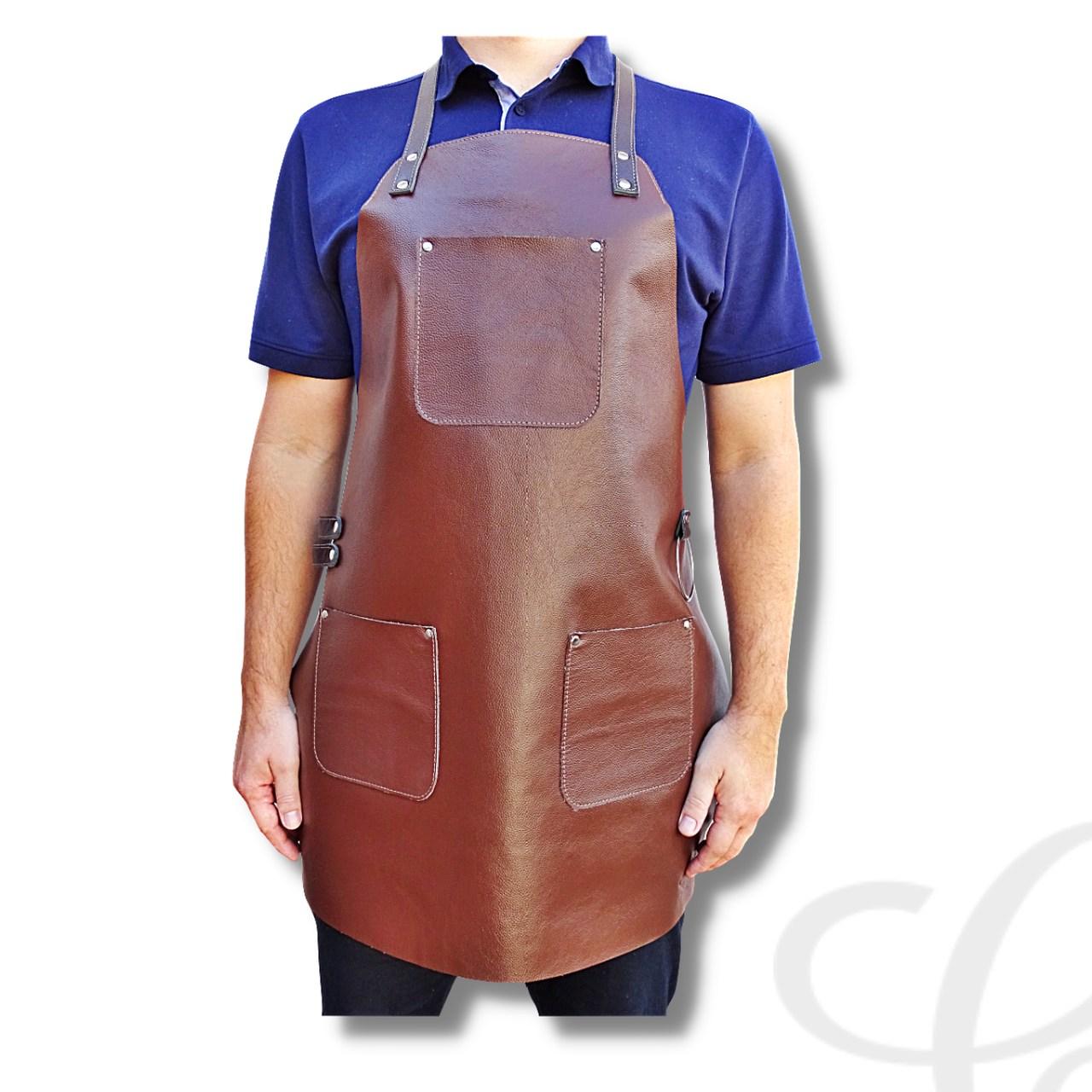 Avental em Couro para Churrasco Chefe Cozinha Premium