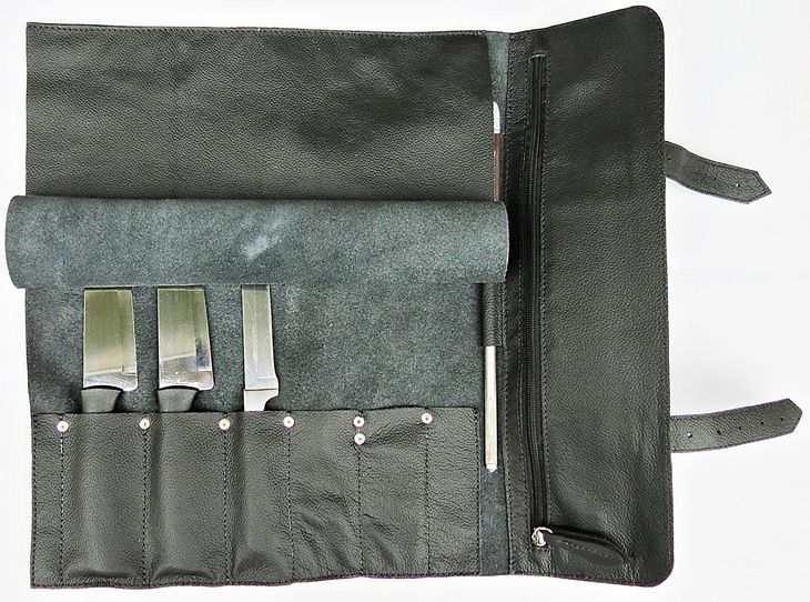 Estojo para facas com 6 espaços + suporte para Chaira com alça lateral, tamanho 10 polegadas modelo MasterChef