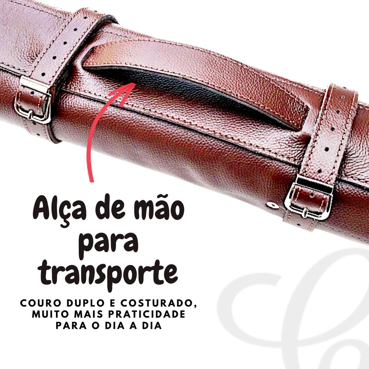 Case Bag Estojo Para Facas Em Couro Com 5 Espaços 38cm
