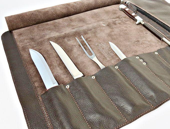 Estojo porta facas com 6 espaços + suporte para chaira com alça lateral, tamanho 38cm