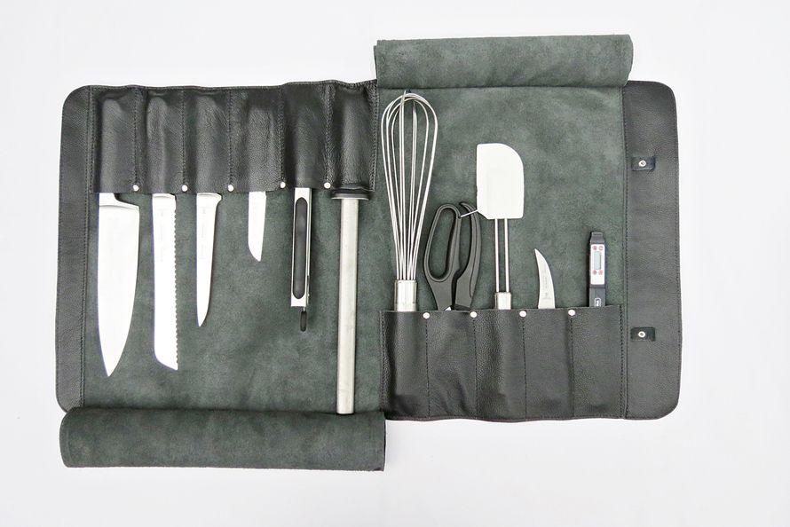 Estojo Porta facas com 11 slots 12 polegadas Personalizado Couro Preto