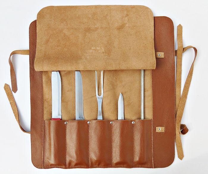 Estojo para Facas Modelo Chef Churrasco para 5 peças de 12 pol. Couro Caramelo Personalizado