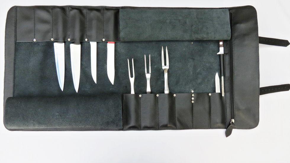 Estojo para Facas Modelo MasterChef para 12 peças + chaira até 12 polegadas. Personalizado, alça de mão e alça lateral.