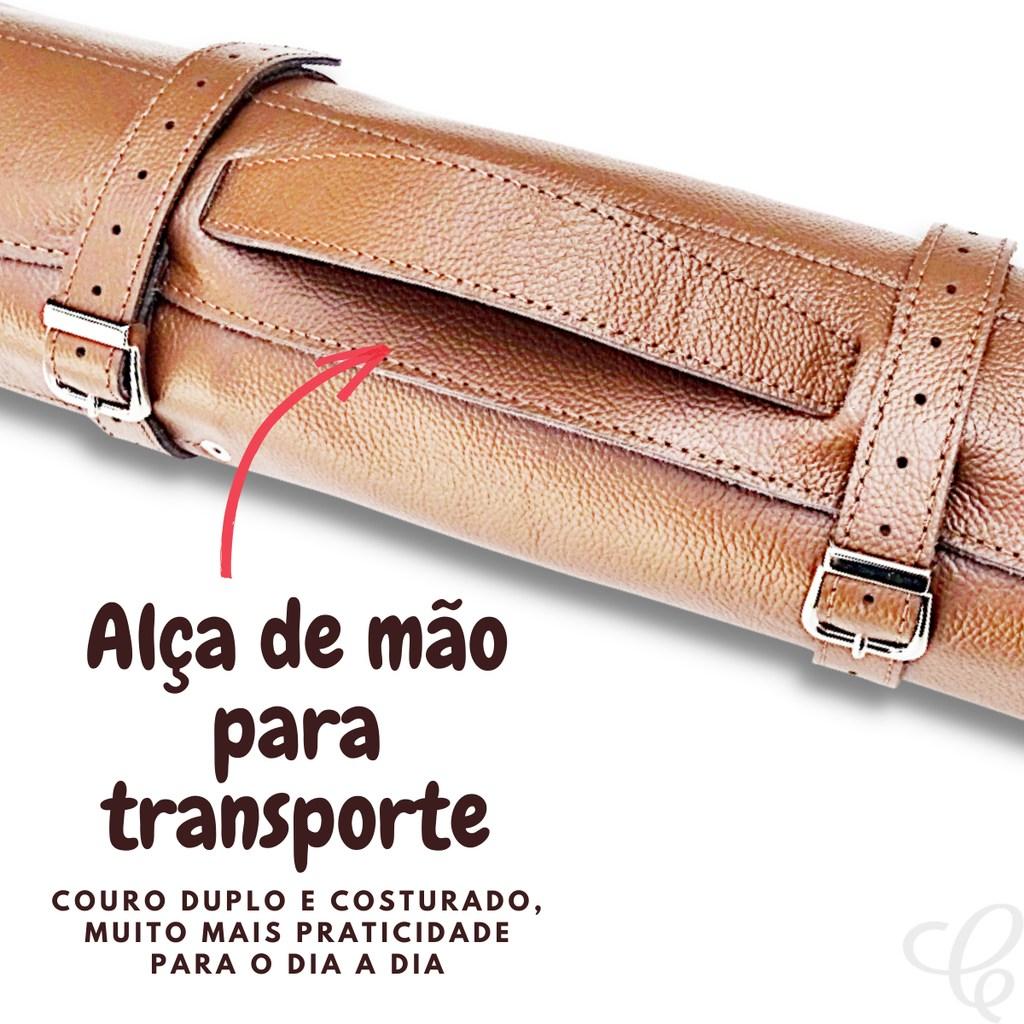 ESTOJO PARA FACAS EM COURO TOP CHEF PARA 5 PEÇAS ATÉ 10 POLEGADAS