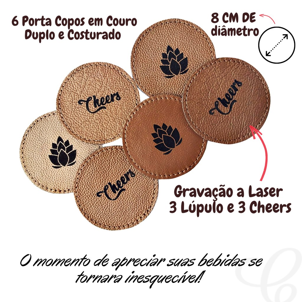 Estojo Porta Facas + 6 Bolacha Porta Copos Gravadas a Laser