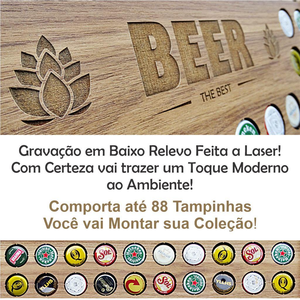 Expositor de Tampinhas de Cerveja Beer the Best em MDF Amadeirado