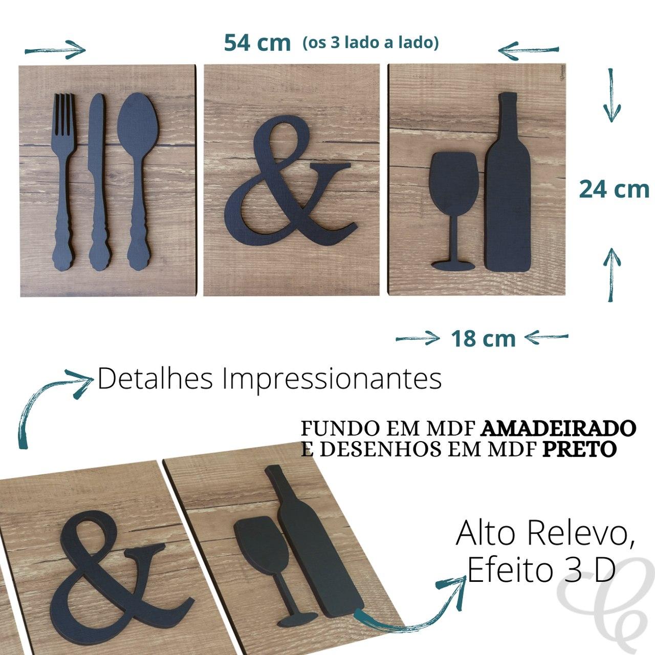 Kit 3 Quadros Decorativos Cozinha Vinho Adega Bebidas Copa
