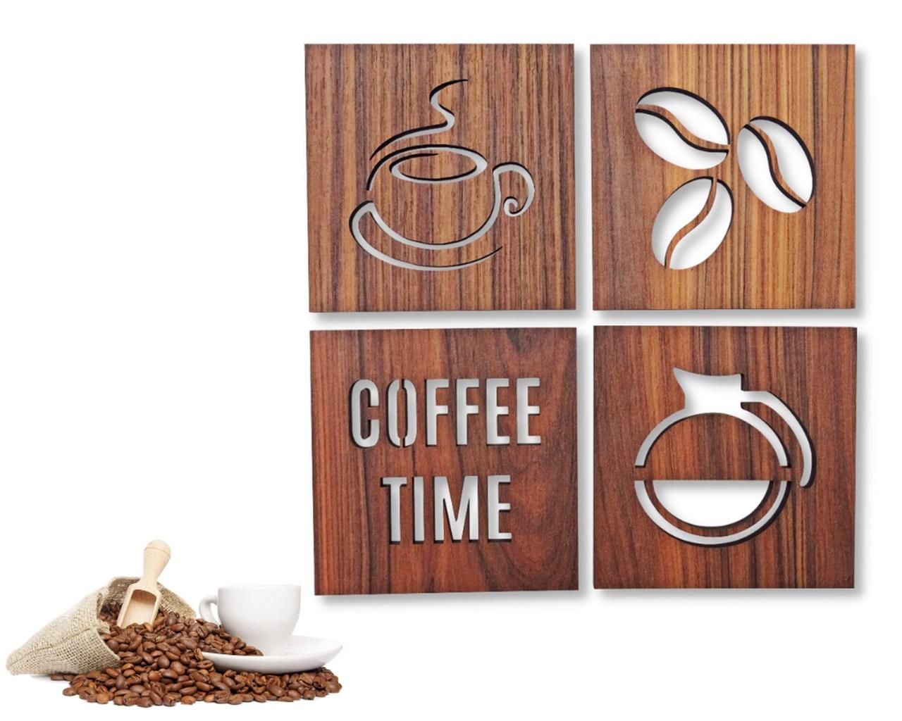 Kit 4 Quadros Cozinha Cantinho do Café