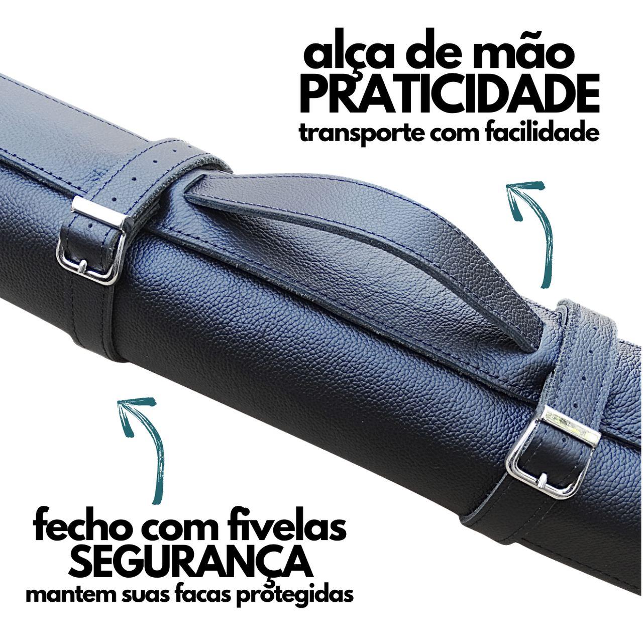 Kit Churrasqueiro Avental + Estojo Para Faca em Couro